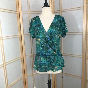 Venus Womens Peacock Print Surplice Tunic